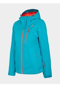 Turkusowa kurtka narciarska 4f na zimę, z kapturem