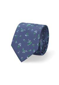 Lancerto - Krawat Granatowy w Kwiatki. Kolor: niebieski. Materiał: mikrofibra, materiał. Wzór: kwiaty. Styl: elegancki
