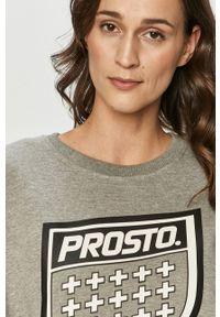 Szara bluza Prosto. bez kaptura, długa, z nadrukiem, z długim rękawem