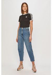 adidas Originals - T-shirt. Okazja: na co dzień. Kolor: czarny. Materiał: dzianina. Wzór: gładki. Styl: casual