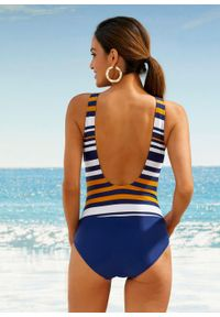 Kostium kąpielowy shape Level 1, przyjazny dla środowiska bonprix ciemnoniebiesko-miodowy w paski. Kolor: niebieski. Materiał: materiał. Wzór: paski