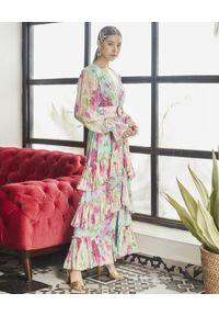 Niebieska sukienka na lato, klasyczna, w kwiaty, maxi
