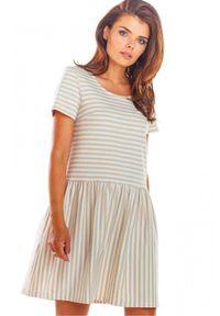 Infinite You - Letnia rozkloszowana sukienka mini w paski. Materiał: bawełna, lycra. Długość rękawa: krótki rękaw. Wzór: paski. Sezon: lato. Długość: mini