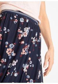 Spódnica siatkowa z elastycznym paskiem bonprix ciemnoniebieski w kwiaty. Kolor: niebieski. Wzór: kwiaty