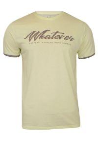 Żółty T-shirt Męski z Nadrukiem, Krótki Rękaw, Just Yuppi, Pozytywny Napis. Okazja: na co dzień. Kolor: złoty, wielokolorowy, żółty. Materiał: bawełna. Długość rękawa: krótki rękaw. Długość: krótkie. Wzór: nadruk. Styl: casual