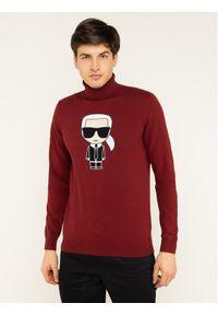 Czerwony golf Karl Lagerfeld z golfem