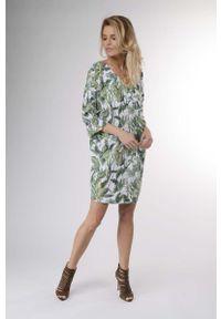 Zielona sukienka wizytowa Nommo w kwiaty, mini