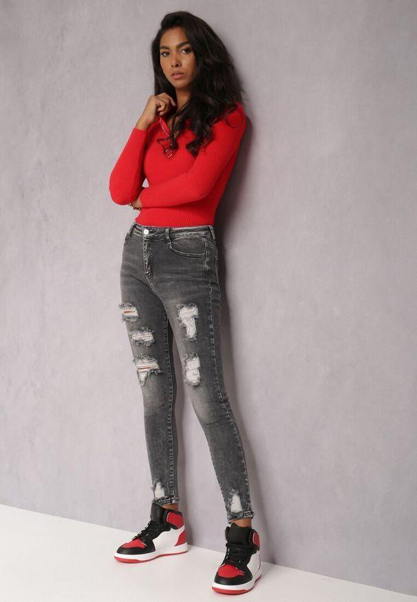 Renee - Ciemnoszare Jeansy Skinny Willoris. Stan: podwyższony. Kolor: szary. Długość: długie. Wzór: aplikacja. Styl: elegancki