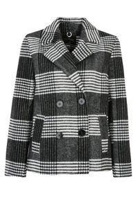 TOP SECRET - Dwurzędowa kurtka w kratkę. Kolor: czarny. Materiał: dzianina. Długość rękawa: długi rękaw. Długość: długie. Wzór: kratka. Sezon: jesień. Styl: klasyczny