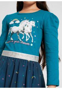 Sukienka dziewczęca z dżerseju z organzą bonprix turkusowo-ciemnoniebieski. Kolor: niebieski. Materiał: jersey. Długość rękawa: długi rękaw. Wzór: aplikacja, nadruk