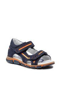 RenBut - Sandały RENBUT - 21-3253 Granat/Pomarańcz. Kolor: niebieski. Materiał: skóra, zamsz