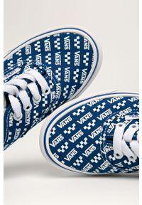 Niebieskie trampki Vans z cholewką, z okrągłym noskiem, na sznurówki