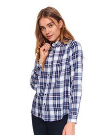 TOP SECRET - Damska koszula w kratę. Okazja: na co dzień. Kolor: niebieski. Materiał: bawełna. Długość: długie. Sezon: wiosna. Styl: klasyczny, casual