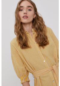 Vero Moda - Sukienka. Okazja: na co dzień. Kolor: żółty. Materiał: tkanina, bawełna. Typ sukienki: proste. Styl: casual