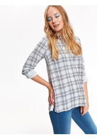 TOP SECRET - Koszula damska regular fit. Okazja: na co dzień. Kolor: beżowy. Materiał: tkanina. Długość rękawa: długi rękaw. Długość: długie. Wzór: kratka. Styl: casual