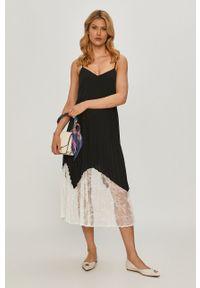 TwinSet - Twinset - Sukienka. Kolor: czarny. Materiał: koronka, tkanina. Długość rękawa: na ramiączkach. Wzór: gładki. Typ sukienki: rozkloszowane
