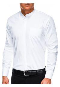 Ombre Clothing - Koszula męska elegancka z długim rękawem K307 - biała - XXL. Typ kołnierza: kołnierzyk stójkowy. Kolor: biały. Materiał: bawełna, poliester. Długość rękawa: długi rękaw. Długość: długie. Wzór: jednolity. Styl: elegancki
