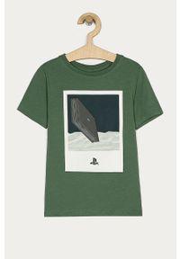 Zielony t-shirt Name it z nadrukiem, na co dzień, casualowy