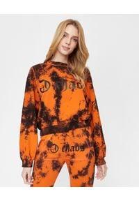 CHAOS BY MARTA BOLIGLOVA - Ręcznie farbowana pomarańczowa bluza z bawełny Ravon. Kolor: pomarańczowy. Materiał: bawełna. Wzór: nadruk. Styl: elegancki, sportowy