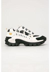 Białe sneakersy CATerpillar na sznurówki, z cholewką