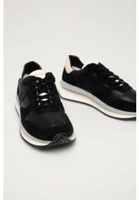 Czarne sneakersy Guess z okrągłym noskiem, do biegania, na sznurówki