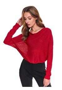 TOP SECRET - Sweter długi rękaw damski luźny. Kolor: czerwony. Materiał: tkanina. Długość rękawa: długi rękaw. Długość: długie. Sezon: wiosna. Styl: elegancki