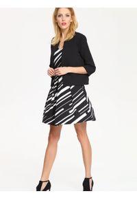 Czarna sukienka TOP SECRET na imprezę, mini, w kolorowe wzory