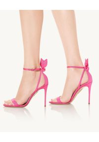 AQUAZZURA - Różowe sandały na szpilce Bow Tie. Zapięcie: pasek. Kolor: różowy, fioletowy, wielokolorowy. Materiał: tkanina. Wzór: paski. Obcas: na szpilce