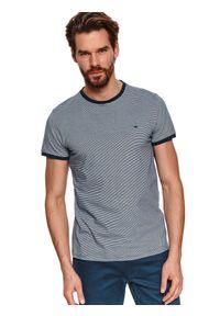 TOP SECRET - T-shirt krótki rękaw męski we wzory, w paski. Kolor: niebieski. Materiał: bawełna, tkanina. Długość rękawa: krótki rękaw. Długość: krótkie. Wzór: paski. Styl: elegancki