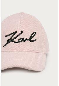 Różowa czapka z daszkiem Karl Lagerfeld klasyczna, z aplikacjami