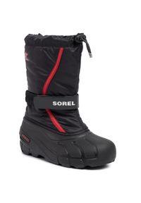 sorel - Śniegowce SOREL - Youth Flurry NY1965 Black/Bright Red. Okazja: na spacer. Kolor: czarny. Materiał: guma, materiał