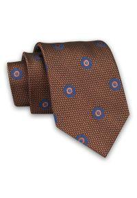 Karmelowy Męski Krawat -Chattier- 8 cm, Klasyczny, Elegancki, w Niebieskie Kwiatki. Kolor: niebieski, beżowy, brązowy, wielokolorowy. Materiał: tkanina. Wzór: kwiaty. Styl: klasyczny, elegancki