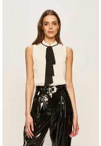 Biała bluzka DKNY na co dzień, casualowa, bez rękawów, ze stójką