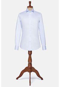 Lancerto - Koszula Błękitna Esperanza. Typ kołnierza: kołnierzyk włoski. Kolor: niebieski. Materiał: bawełna, jedwab, tkanina, wełna. Wzór: jodełka, ze splotem. Styl: wizytowy, klasyczny, vintage