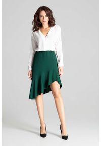 Katrus - Zielona Asymetryczna Spódnica z Falbanką. Kolor: zielony. Materiał: poliester, elastan
