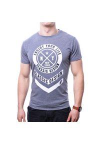 Szary t-shirt z nadrukiem Recea z krótkim rękawem, klasyczny
