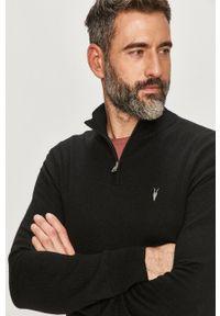 Czarny sweter AllSaints na co dzień, casualowy, długi, z golfem