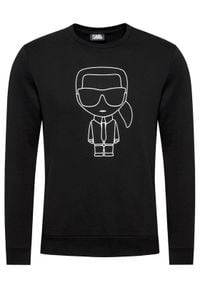 Karl Lagerfeld - KARL LAGERFELD Bluza Ikonik 705030 511900 Czarny Regular Fit. Typ kołnierza: dekolt w karo. Kolor: czarny
