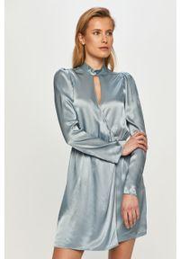 Niebieska sukienka The Kooples z długim rękawem, mini, rozkloszowana