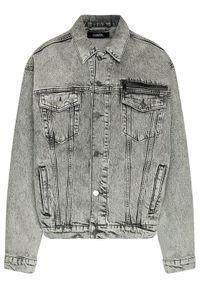 Karl Lagerfeld - KARL LAGERFELD Kurtka jeansowa Unisex 211U1400 Szary Regular Fit. Typ kołnierza: dekolt w karo. Kolor: szary. Materiał: jeans