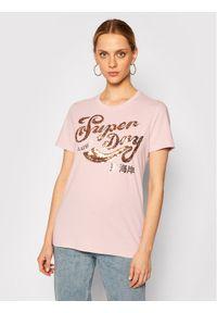 Superdry T-Shirt Sequin W1010248A Różowy Regular Fit. Kolor: różowy