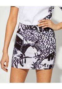 RETROFETE - Krótka spódnica z cekinami. Kolor: czarny. Długość: krótkie. Wzór: motyw zwierzęcy, aplikacja