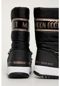 Czarne buty zimowe Moon Boot z cholewką, na sznurówki, z okrągłym noskiem, na zimę