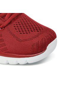 Czerwone buty do fitnessu skechers na płaskiej podeszwie, z cholewką
