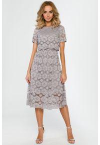 e-margeritka - Koronkowa elegancka sukienka midi szara - m. Okazja: na imprezę. Kolor: szary. Materiał: koronka. Wzór: koronka. Styl: elegancki. Długość: midi