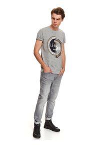 Szary t-shirt TOP SECRET na jesień, krótki