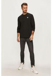 Czarna koszulka z długim rękawem adidas Originals z okrągłym kołnierzem, casualowa, z nadrukiem
