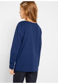 Niebieska bluzka bonprix z długim rękawem, z aplikacjami, długa