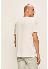 Biały t-shirt Wrangler z okrągłym kołnierzem, na co dzień, z nadrukiem