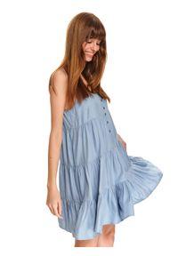 TOP SECRET - Luźna sukienka mini na ramiączkach z falbanami. Kolor: niebieski. Długość rękawa: na ramiączkach. Typ sukienki: koszulowe. Długość: mini